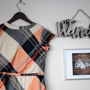 DownEast Dresses - Downeast Plaid Midi Dress with Tie and pockets